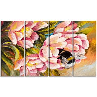 Designart Bee Sitting On Flower Floral Art CanvasPrint - 4 Panels
