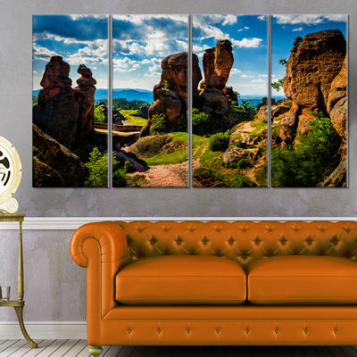 Designart Belogradchik City Fortress and Cliffs Landscape Canvas Art Print - 4 Panels