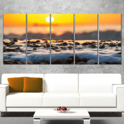 Designart Sunrise Giving Color For Sea Waters Seascape Wrapped Art Print - 5 Panels