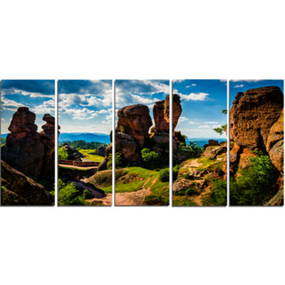 Designart Belogradchik City Fortress and Cliffs Landscape Canvas Art Print - 5 Panels