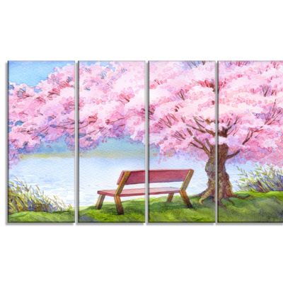Designart Bench Under Flowering Peach Tree FloralArt CanvasPrint - 4 Panels