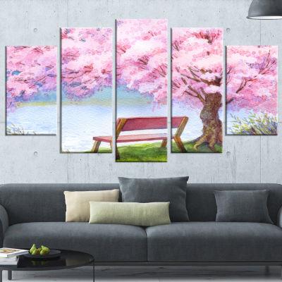 Designart Bench Under Flowering Peach Tree LargeFloral Art Canvas Print - 5 Panels
