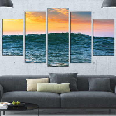 Designart Sunrise Light Shine on Sea Water Large Beach Wrapped Wall Art - 5 Panels