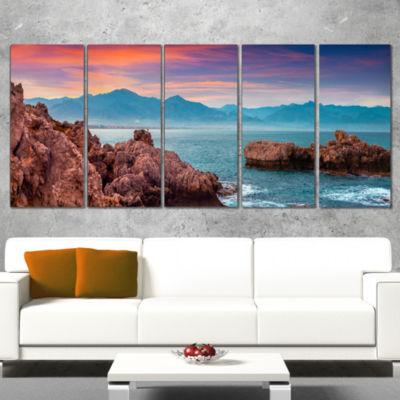 Designart Sunrise on Barbor Milazzo Panorama Landscape PrintWall Artwork - 5 Panels