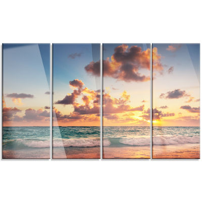 Designart Sunrise on Beach of Caribbean Sea LargeBeach Canvas Wall Art - 4 Panels