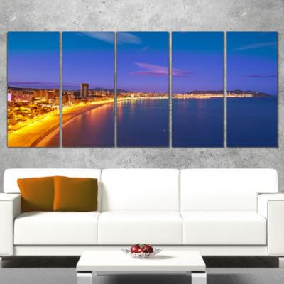 Designart Benidorm Poniente Beach Sunset SeascapeCanvas Art Print - 5 Panels