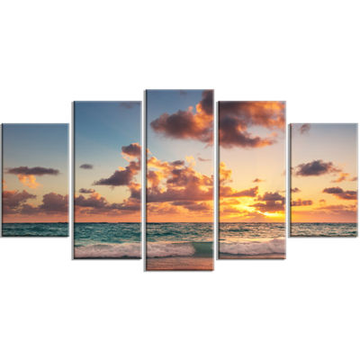 Designart Sunrise on Beach of Caribbean Sea LargeBeach Wrapped Wall Art - 5 Panels