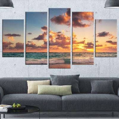 Designart Sunrise on Beach of Caribbean Sea LargeBeach Canvas Wall Art - 5 Panels