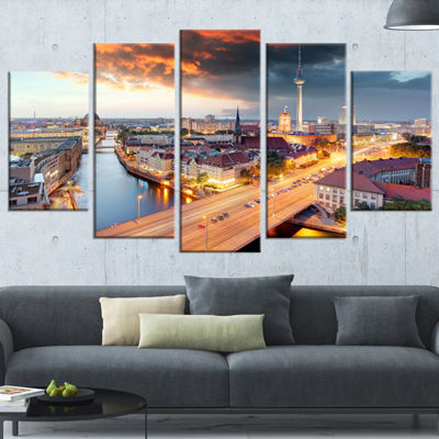 Designart Berlin at Dawn with Dramatic Sky Cityscape Wrapped Canvas Print - 5 Panels