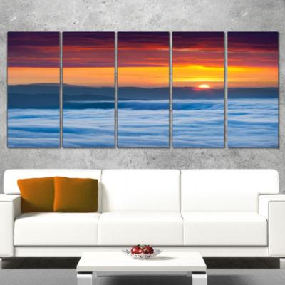 Designart Sunrise Over Foggy Ocean Vertical Landscape Photography Canvas Print - 5 Panels