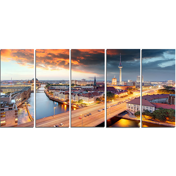 Designart Berlin at Dawn with Dramatic Sky Cityscape CanvasPrint - 5 Panels