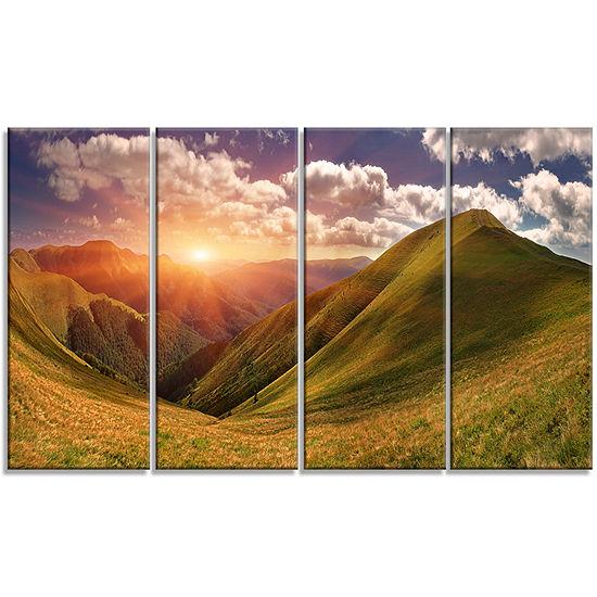 Designart Sunrise Over Green Mountains Landscape Photo Canvas Art Print - 4 Panels