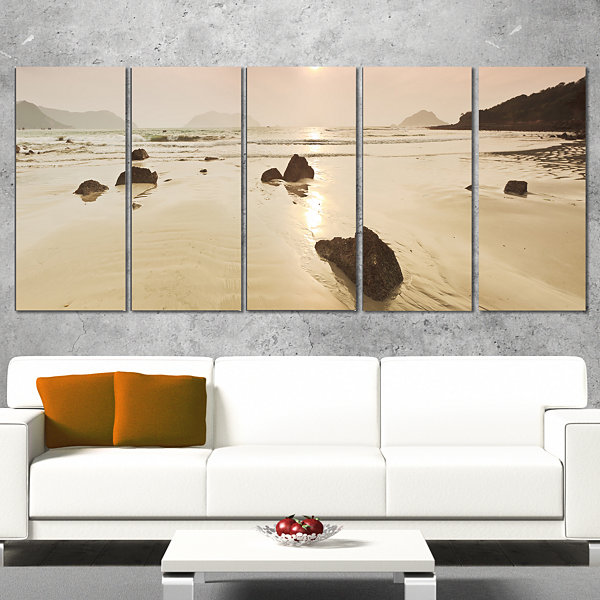 Designart Sunrise Over Rocky Sea Panorama Modern Seashore Canvas Art - 5 Panels