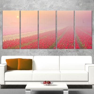 Designart Sunrise Over Rows of Tulips Landscape Canvas Art Print - 4 Panels