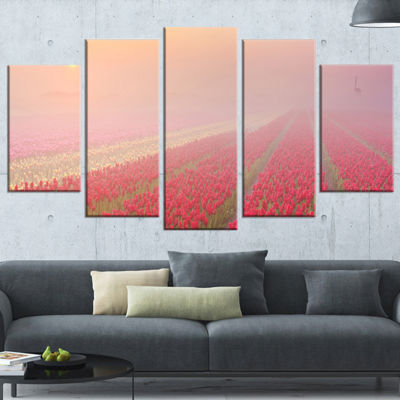 Designart Sunrise Over Rows of Tulips Landscape Wrapped ArtPrint - 5 Panels