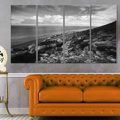 Designart Sunrise Over Sicily Black and White Beach Photo Canvas Print - 4 Panels