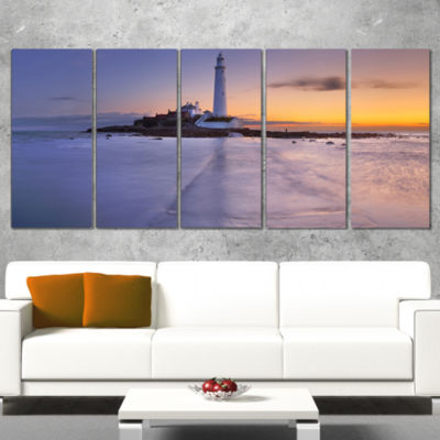 Designart Sunrise Over St. Mary S Lighthouse Modern SeascapeCanvas Artwork - 5 Panels
