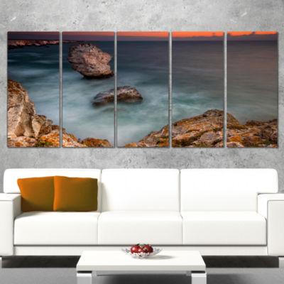 Designart Big Rock Formations Near Tulenovo BeachPhoto Canvas Print - 4 Panels