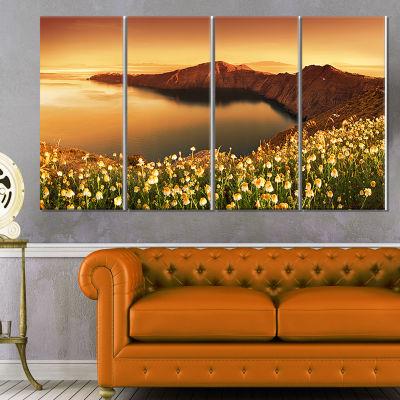 Designart Sunrise Wildflowers on Santorini FloralCanvas ArtPrint - 4 Panels