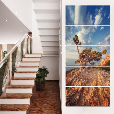 Designart Sunrise with Old Tree at Peak LandscapePhoto Canvas Art Print - 5 Panels