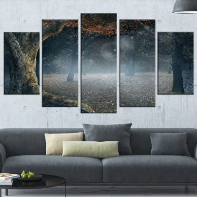 Designart Big Trees in Dark Foggy Forest LandscapePhotography Canvas Print - 4 Panels