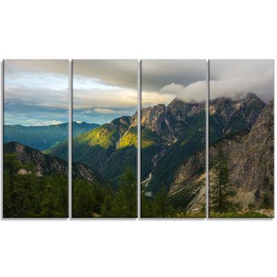 Designart Sunrise with Yellow Reflection LandscapePhoto Canvas Art Print - 4 Panels