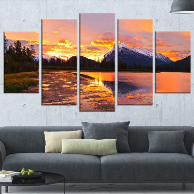Designart Sunset Above Vermilion Lakes Landscape PhotographyWrapped Print - 5 Panels