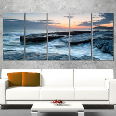 Designart Sunset and Waves at Booby S Bay Beach Photo CanvasPrint - 4 Panels