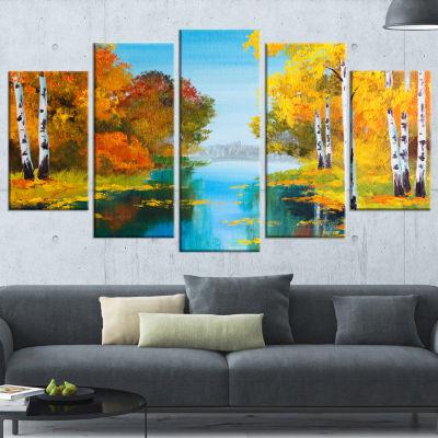 Designart Birch Forest Near The River Landscape Art Print Canvas - 5 Panels