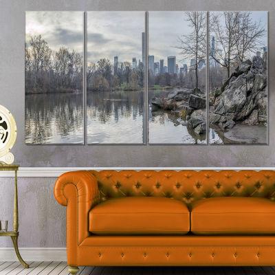 Designart Black and White Central Park Nyc Landscape Print Wall Artwork - 4 Panels