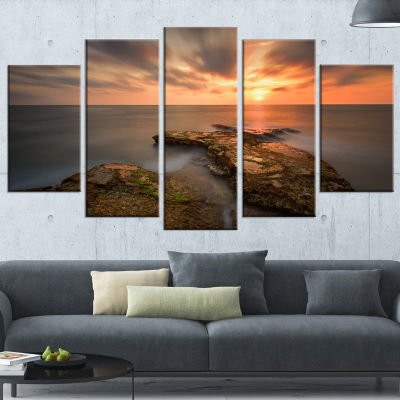 Designart Sunset at atlantic Coast Spain SeascapePhotography Canvas Art Print - 4 Panels