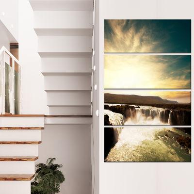 Designart Black and White Iceland Waterfalls Landscape Canvas Art Print - 4 Panels