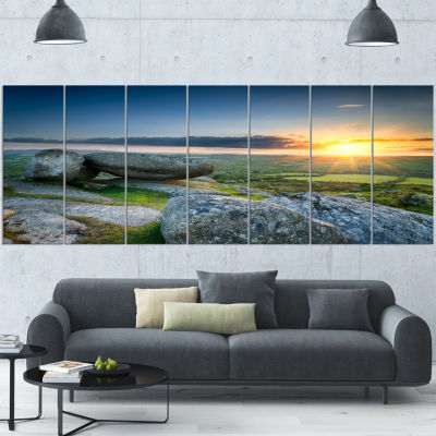 Designart Sunset at Helman Tor in Cornwall ModernSeashore Canvas Art - 7 Panels