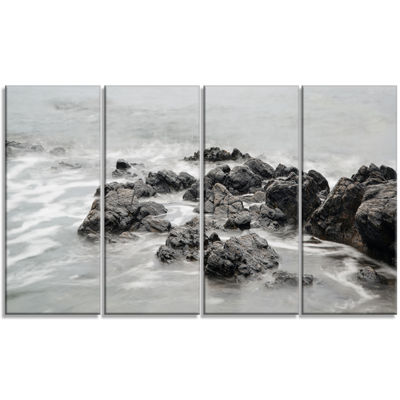 Designart Black and White Rocky Coastline Extra Large Seashore Canvas Art - 4 Panels