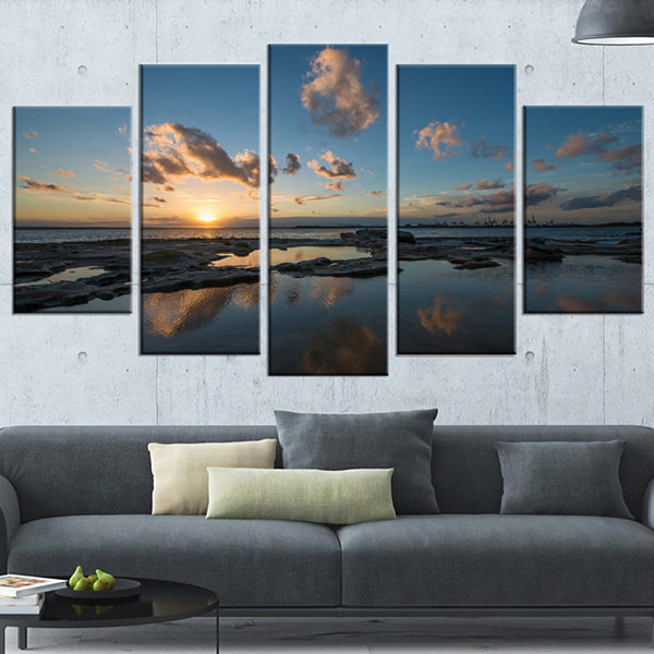 Sunset at La Perhouse Beach Seascape Wrapped Art Print - 5 Panels