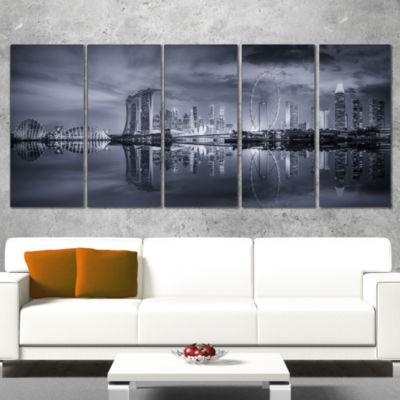 Designart Black and White Singapore Skyline Cityscape Wrapped Canvas Print - 5 Panels