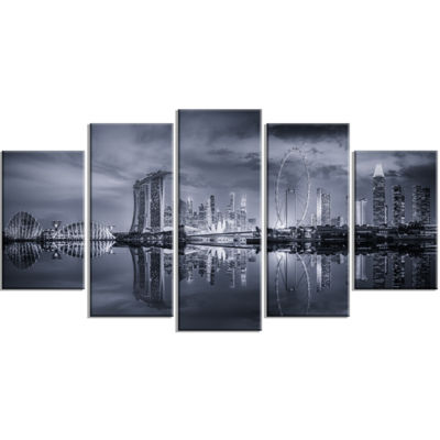 Designart Black and White Singapore Skyline Cityscape Wrapped Canvas Print - 5 Panels