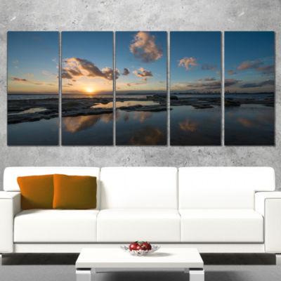 Designart Sunset at La Perhouse Beach Seascape Canvas Art Print - 5 Panels