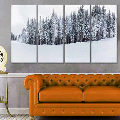 Designart Black and White Snow Capped Hills Landscape Canvas Art Print - 4 Panels