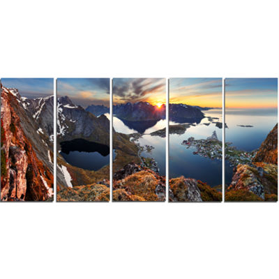 Designart Sunset at Rocky Mountains Norway Landscape Photography Canvas Print - 4 Panels