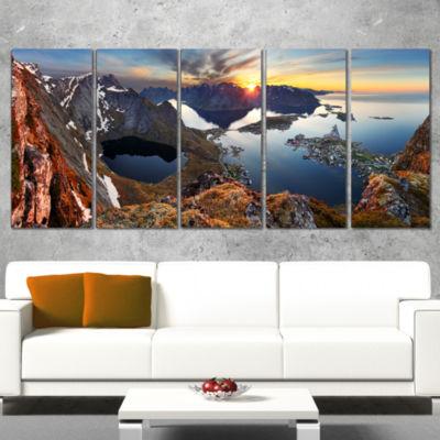 Designart Sunset at Rocky Mountains Norway Landscape Photography Canvas Print - 5 Panels
