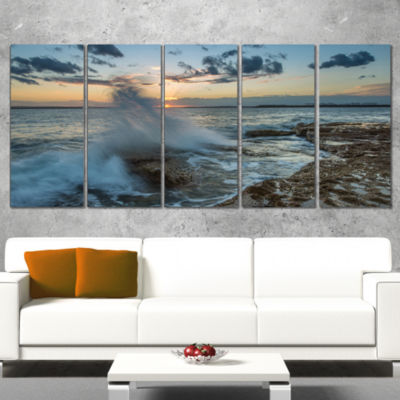Designart Sunset at Sydney Seashore Seascape Wrapped Art Print - 5 Panels