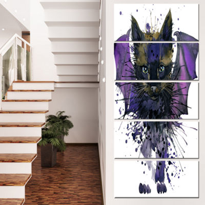 Designart Black Cat with Blue Wings Animal CanvasWall Art -4 Panels