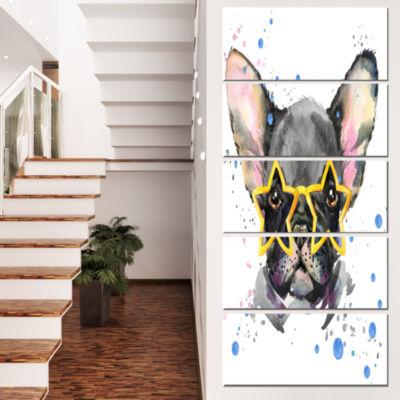 Designart Black French Bulldog with Stars AnimalCanvas WallArt - 5 Panels