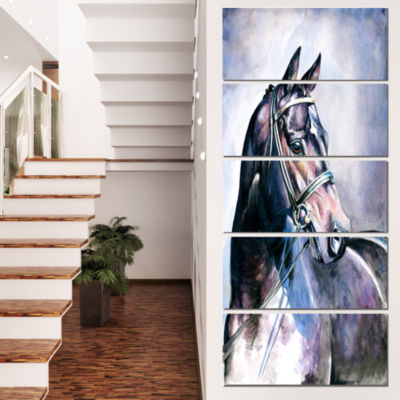Designart Black Horse with Bridle Abstract CanvasArt Print- 5 Panels