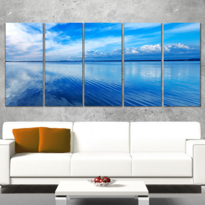 Designart Sunset Blue Panoramic Landscape Oversized Landscape Wall Art Print - 5 Panels