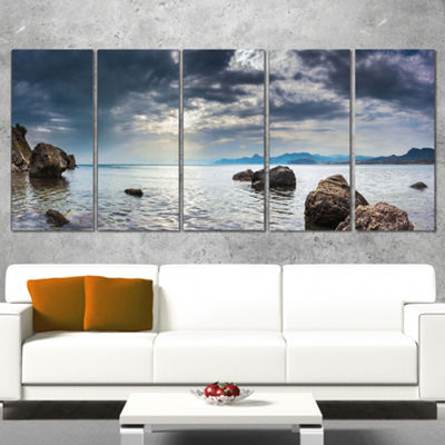 Designart Black Seas in Crimean Peninsula PanoramaSeashore Wrapped Canvas Art Print - 5 Panels