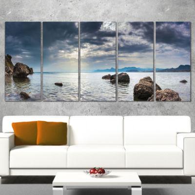 Designart Black Seas in Crimean Peninsula PanoramaSeashore Canvas Art Print - 5 Panels