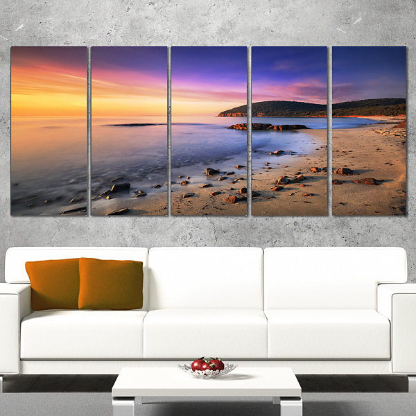Designart Sunset in Cala Violina Bay Beach Extra Large Seashore Canvas Art - 4 Panels