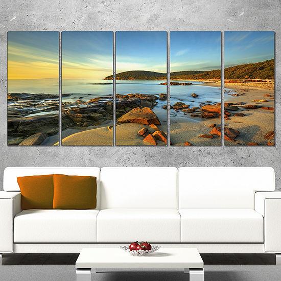 Designart Sunset in Cala Violina Bay Landscape Canvas Art Print - 5 Panels